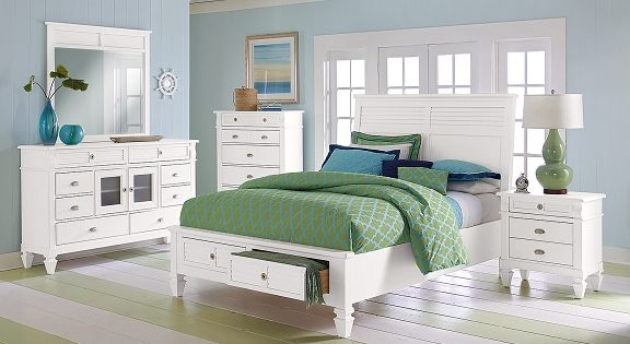 Charleston Bay White Ii Bedroom Collection Value City Furniture Queen Storage Bed