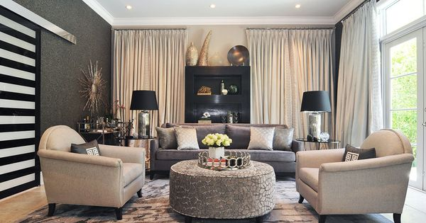 Glam Living Room Mica Wallpaper Velvet Drapes Gray Sofa