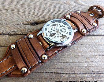 Boutique en ligne muy baratas En liquidación Distressed black wrist watch, Skeleton watch, Men's leather ...