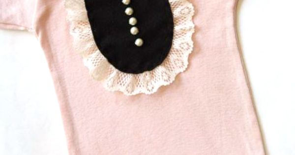 Marguerite Pink Felt and Vintage Lace Onesie with pearls - haha, oh