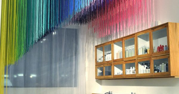 coloured string installation on celing