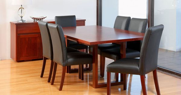 Customisable Domus Solid Jarrah Dining Table With Matching Leather