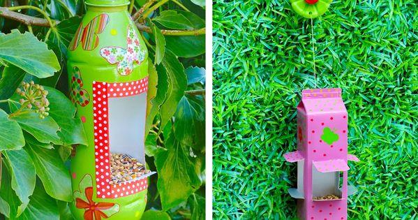 R cup r alisez une mangeoire oiseaux mangeoire briques et bouteille - Mangeoire oiseaux bouteille ...