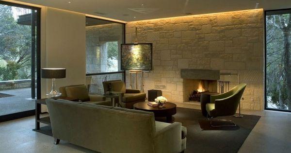indirekte led beleuchtung wohnzimmer kaminofen steinwand ... - Led Beleuchtung Wohnzimmer