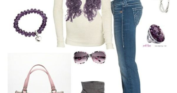 Amethyst scarf, cream sweater and coach bag, love this ensemble.