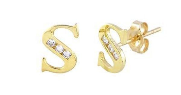 Letter S 10k Gold Initial Stud Earrings Cubic Zirconia 7mm Initial Earrings Studs Initial Jewelry Stud Earrings
