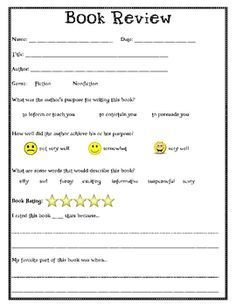 Book Review Worksheet 4th Grade Book Kid And Reviews On Book