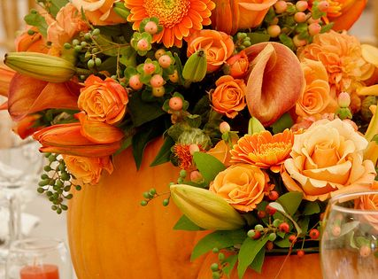 Orange Flower Table Setting fall pumpkin centerpiece