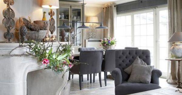 Wonen landelijke stijl landelijk wonen pinterest armchairs fireplaces and tes - Sofa landelijke stijl stijlvol ...
