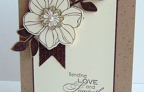 handmade card ... simple elegance ... kraft base with cream a dark
