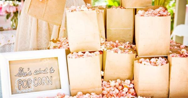 Ready to Pop baby shower theme | Popcorn treat bag