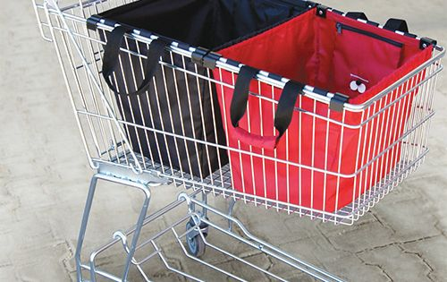 Skip the million plastic bags. Smart design fits into shopping cart. People