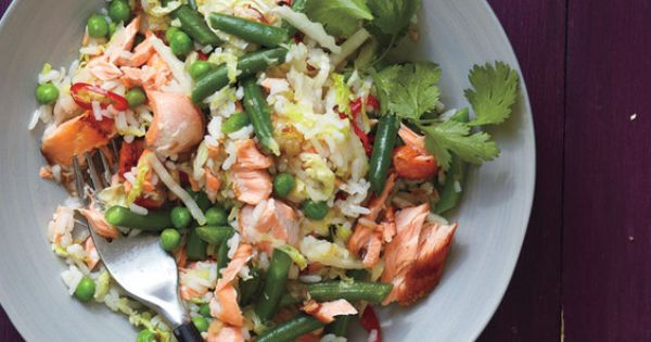 Salmon Fried Rice With Cabbage and Chilies Recipe (Real Simple- tomorrow's meal