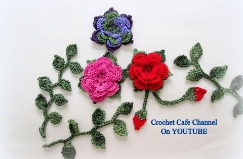 كروشيه وردة طبقات مع إطار من ورق الشجر قناة كروشيه كافيه Crochet Cafe C Crochet Flower Patterns Crochet Puff Flower Flower Patterns