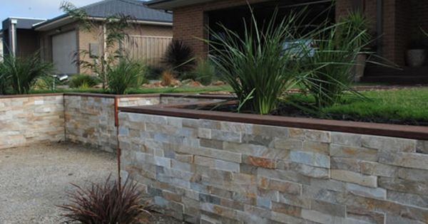 Stack Stone And Timber Top Front Fence Stone Wall Cladding Stone Cladding Stone Feature Wall