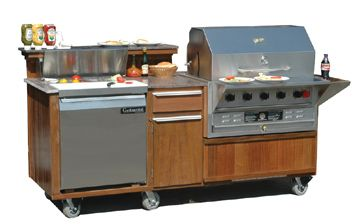 Outdoor Mobile 36 Grill And Refrigerator Combination Cart Custom Grill Outdoor Kitchen Kitchen Grill