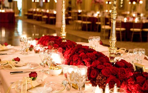 Gold White Red Rose Wedding Table Reception