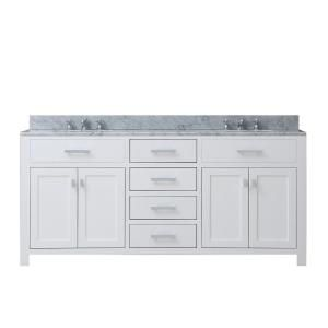 Water Creation Madison 60 In Vanity In Modern White With Marble Vanity Top In Carrara White Madison60w With Images Double Vanity Bathroom Bathroom Vanity Water Creation