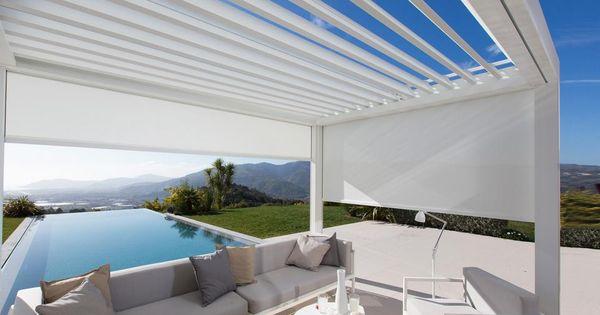 Alleenstaande terrasoverkapping met witte structuur in aluminium brustor pergola - Aluminium pergola met schuifdeksel ...