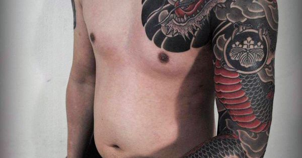 Mens Full Sleeves Cool Black Red Dragon Tattoo | Japanese ...