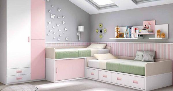 Habitaci n infantil con dos camas en blanco y rosa - Habitacion infantil rosa ...