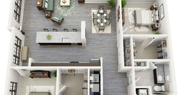 50 plans 3d d 39 appartement avec 2 chambres house tiny houses and shipping container office - Lay outs idee klein appartement ...