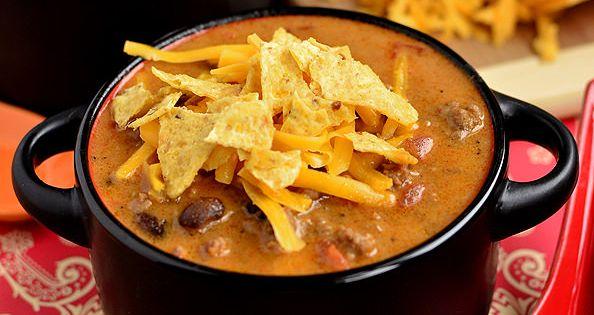 Iowa Girl Eats: Cheesy Taco Soup 1 lb lean ground beef 2