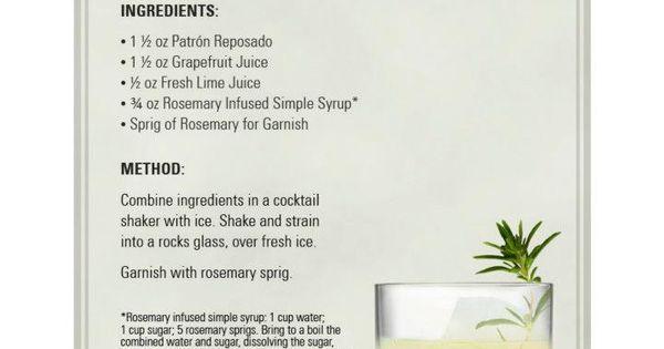 Patrón Rosemary Refresher | Patrón Tequila Drink Recipes | Pinterest