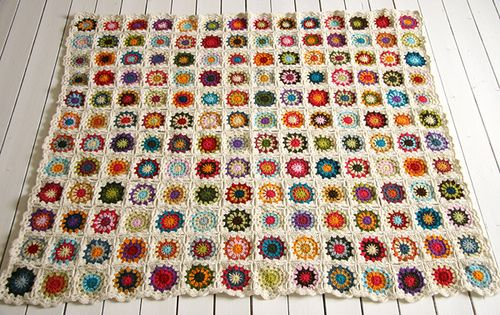 Granny Square Afghan Crocheted Quilt by Sandra Juto . {how to create
