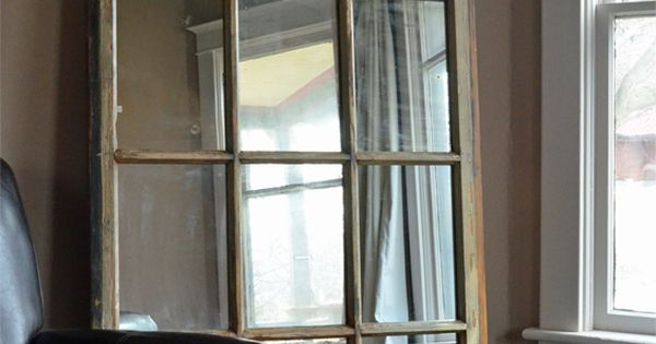 Large Leaning Mirror 8 Pane Window Frame With Vintage
