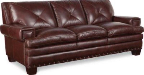 Frazier sofa by la z boy in a reddish leather home for Affordable furniture franklin la