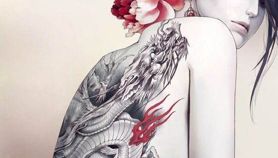 Artistic Japanese tattoo drawing
