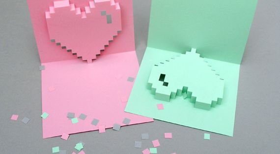 PoPuP pixel heart card *new & improved*