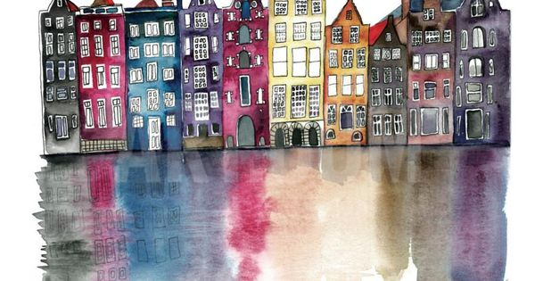 Watercolour painting of AMSTERDAM By Claudia Libenberg