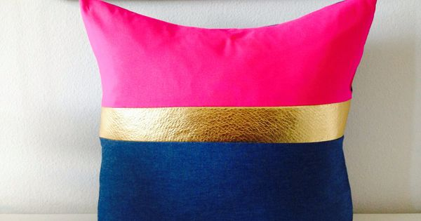 Light Blue And Gold Throw Pillows : Decorative Throw Pillow Cover 18x18 Square Cushion Color-blocked Light Blue Denim Hot Pink Rayon ...