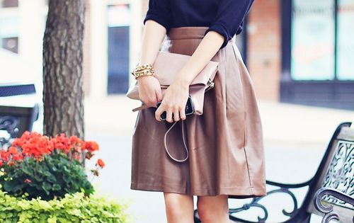 #fashion woman blog style leather brown skirt nude heels pumps shoes From
