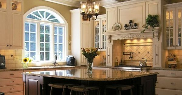Beautiful kitchen design: Coffered ceiling, cabinetry, center island, window kitchendesigns cabinets kitchenislands