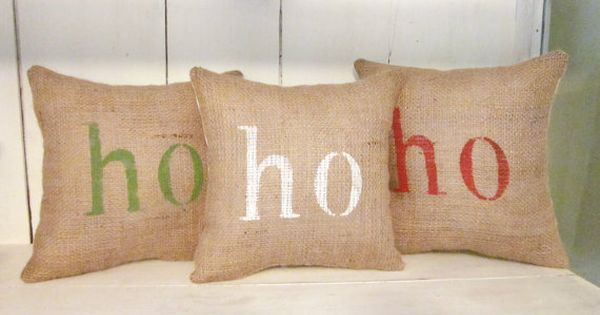 Shabby Chic Christmas Pillows : Holiday pillows, ho ho ho, christmas pillows, burlap pillows, decorative pillows, hand painted ...