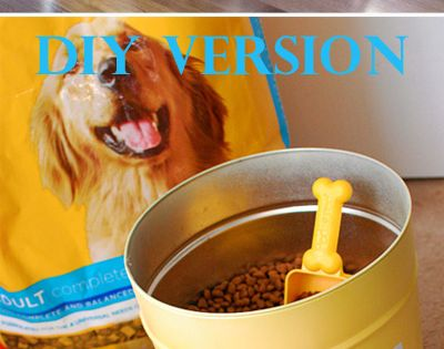 DIY Pet Food Canister ~ You know those popcorn tins you get