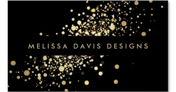 Black and Gold Modern Business Card Template featuring glitter/confetti design. Ready to
