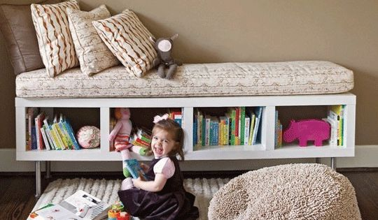 Love this idea! Ikea Lack Shelf with Ikea Legs to make a