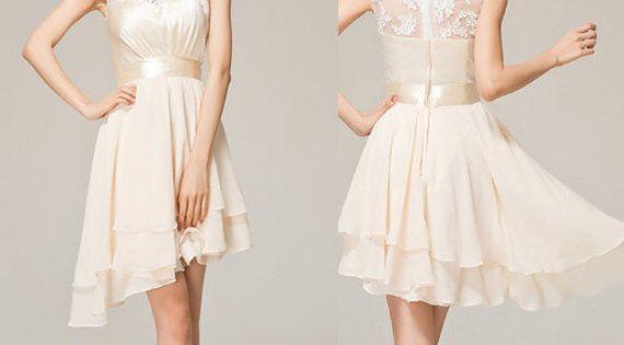 Short Beige Lace Bridesmaid Dresses: Ivory Short Lace Prom Dress Beige A-line Princess Straps