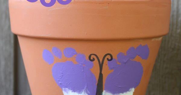Footprint Butterfly Flower Pot Mother's Day idea