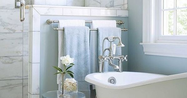 Marble Shower Baby Blue Walls And A Clawfoot Tub Make For