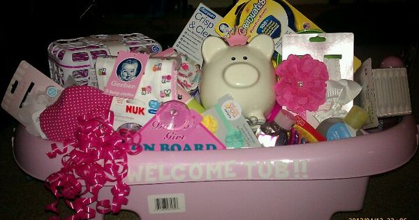instead of welcome wagon did a welcome tub easy diy baby shower gift fill tub with misc gifts. Black Bedroom Furniture Sets. Home Design Ideas