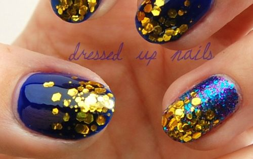Cobalt Blue Nails with Gold Glitter!