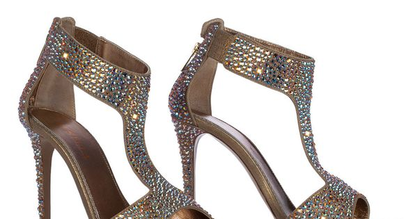 Sandal in Burma, laminate suede and crystals in mordorA� colour
