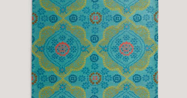 World Market Paisley Floral Outdoor Rug Turquoise Teal