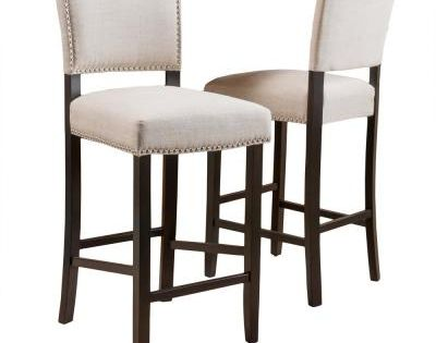 Noble House Mayfield 44 5 In Dark Beige Cushioned Bar Stool Set