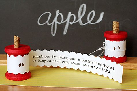 Teacher Appreciation. Apple core spool card! Use a wooden spool and card